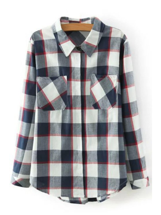 fashion Long Sleeve Checked Shirt - COLORMIX S