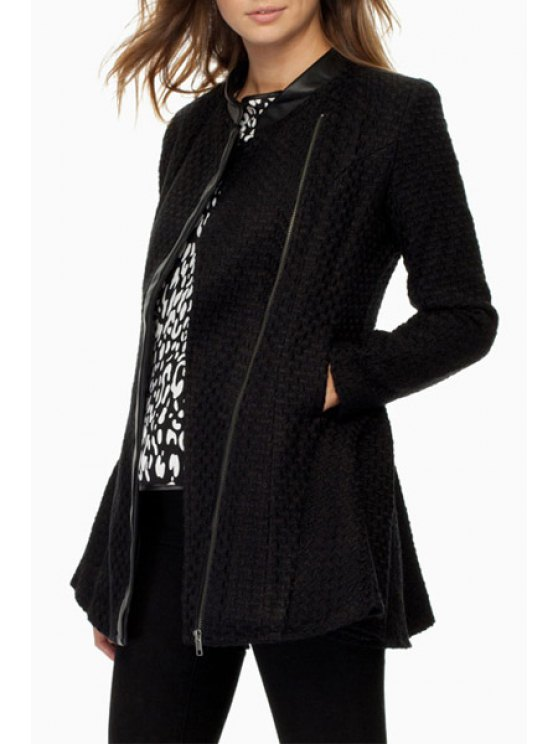 best PU Leather Spliced Peplum Coat - BLACK XS