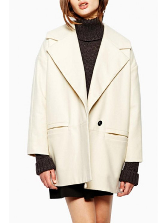trendy Lapel Milk White Wool Coat - MILK WHITE XS