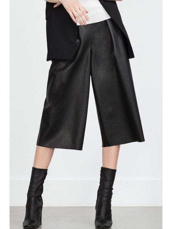 women's Wide Leg High-Waisted Elastic 3/4 PU Leather Pants - BLACK S