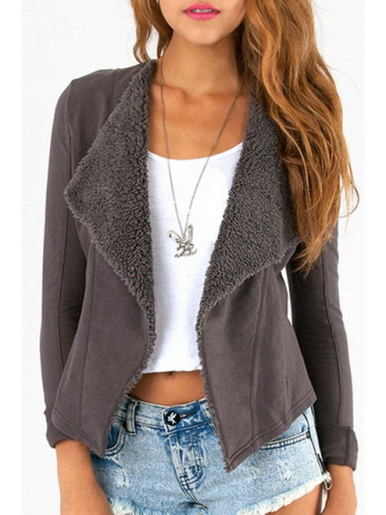 shop Lapel Flocking Suede Jacket - DEEP GRAY XS