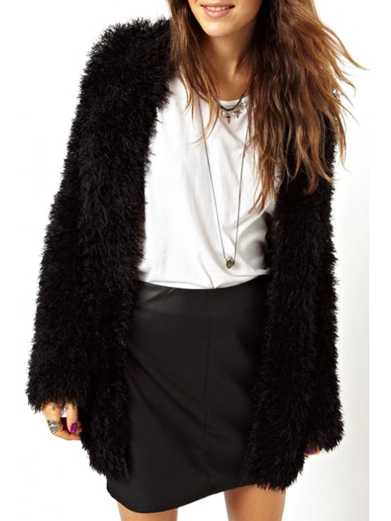 fancy Open Front Flocking Coat - BLACK XS