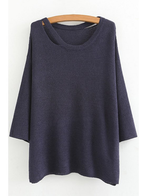 outfit Deep Blue Scoop Neck Long Sleeve Jumper - BLUE M