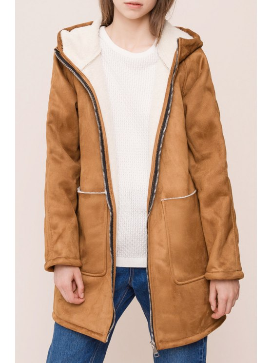 outfit Faux Suede Long Sleeves Hooded Brown Coat - BROWN S