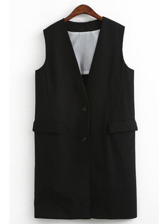 trendy Black Plunging Neck Sleeveless Waistcoat - BLACK ONE SIZE(FIT SIZE XS TO M)