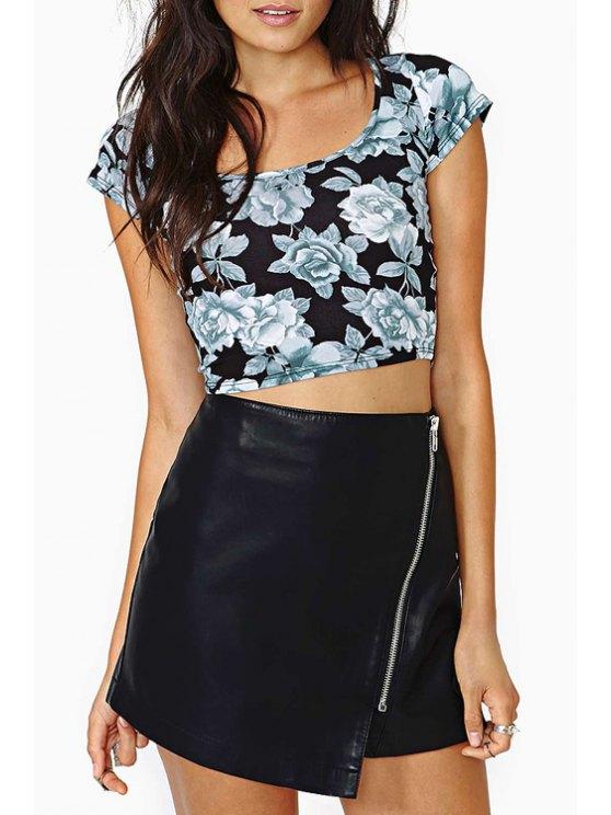 best Packet Buttocks Zippered PU Leather Skirt - BLACK S