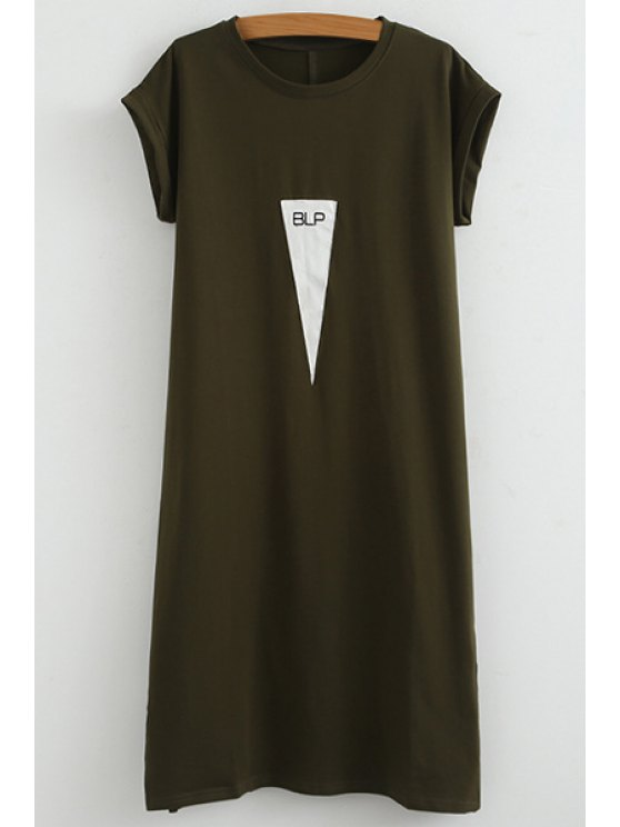 outfit Triangle Pattern Short Sleeve Dress - GREEN ONE SIZE(FIT SIZE XS TO M)