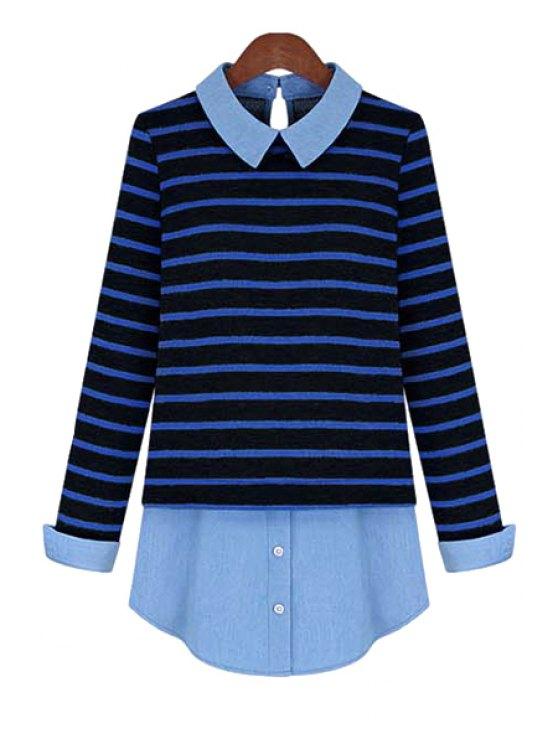 ladies Plus Size Striped Blouse - DEEP BLUE XL