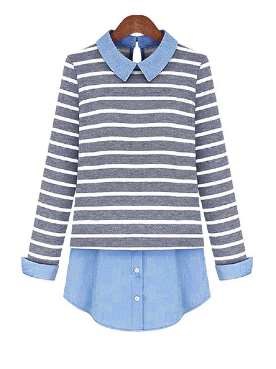 chic Plus Size Striped Blouse - BLUE 5XL