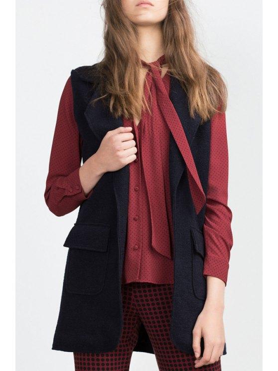 shops Solid Color Lapel Collar Thicken Waistcoat - PURPLISH BLUE S