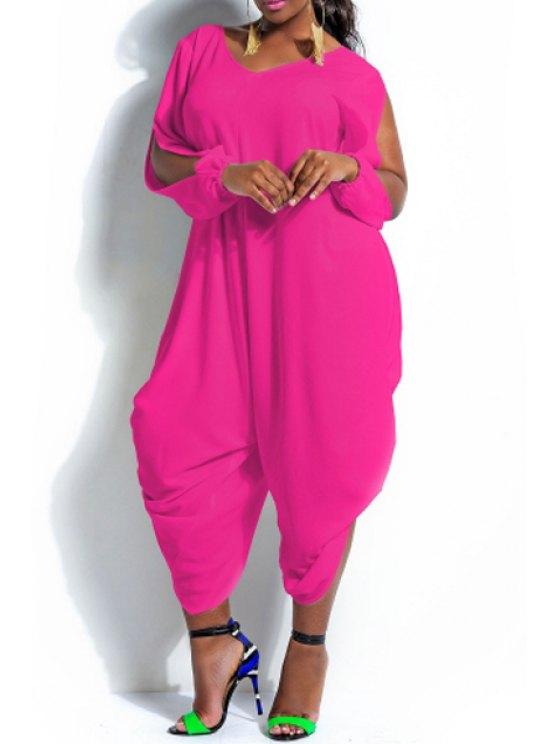 shops Solid Color Cut Out Long Sleeve Jumpsuit - ROSE 2XL