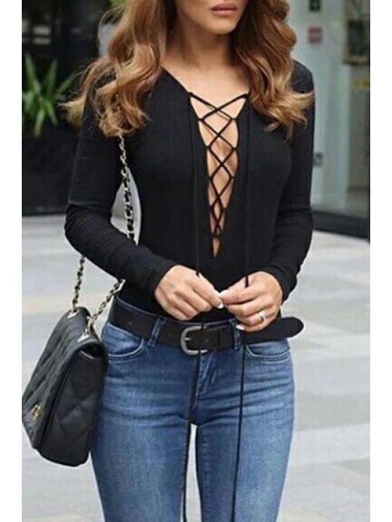 fashion Black Plunging Neck Long Sleeve Romper - BLACK S