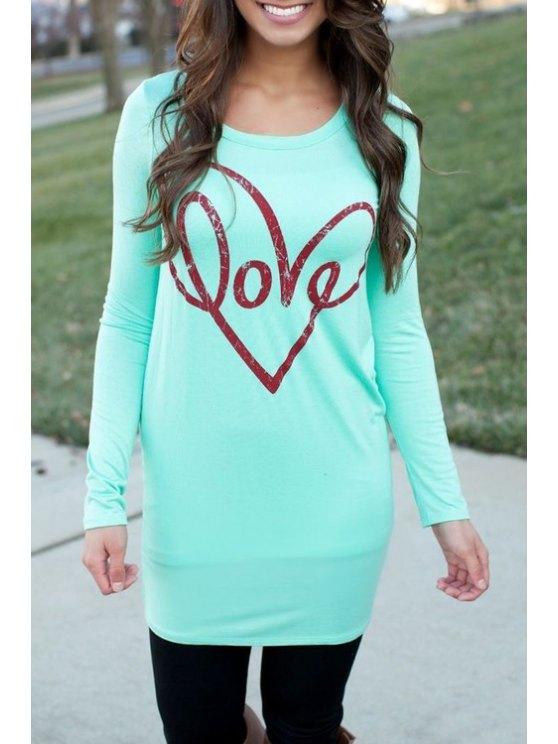 buy Long Sleeve Letter Print Long T-Shirt - CYAN S