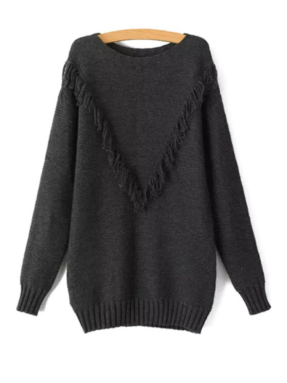 new Gray Round Collar Long Sleeves Pullover Sweater - GRAY S