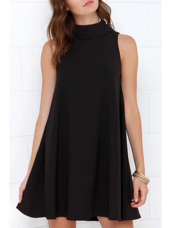 sale Black Stand Neck Sleeveless A Line Dress - BLACK S