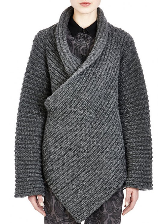 new Funnel Neck Cross-Over Sweater - GRAY ONE SIZE(FIT SIZE XS TO M)