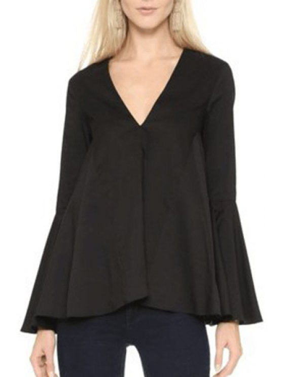 hot V-Neck Long Bell Sleeve Blouse - BLACK S