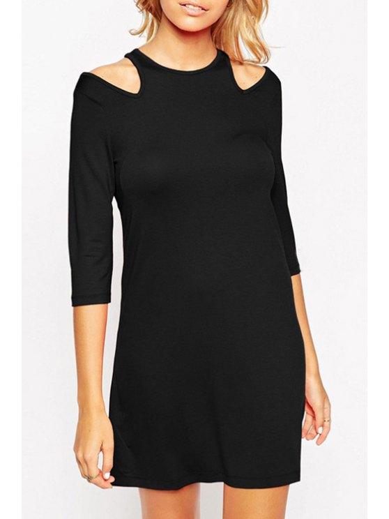 lady 3/4 Sleeve Cut Out Dress - BLACK S