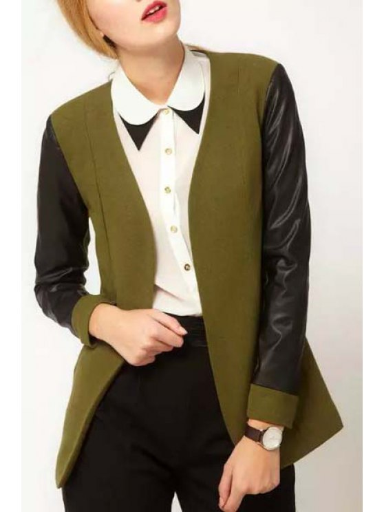 fancy PU Leather Spliced V Neck Long Sleeve Coat - ARMY GREEN S