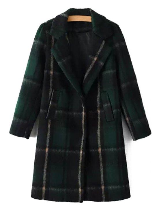 trendy Plaid Lapel Collar Long Sleeves Wool Blend Coat - GREEN S