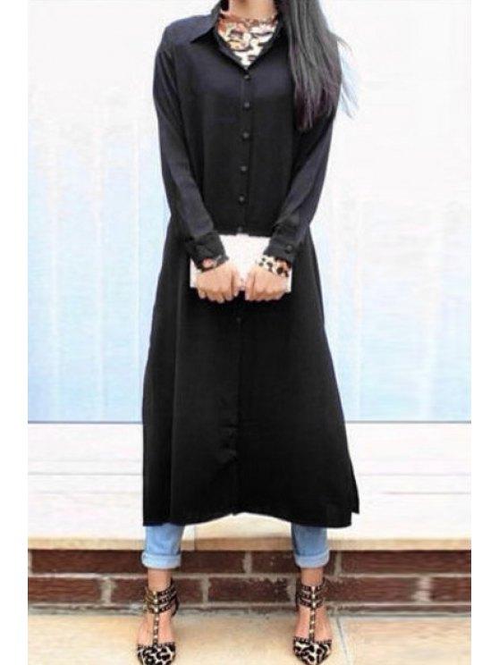 affordable Shirt Collar Single-Breasted Chiffon Dress - BLACK S