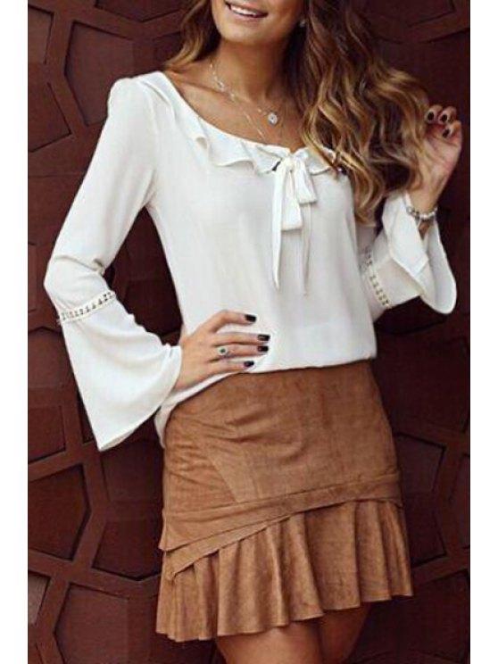 buy Bell Sleeve Ruffle Bowknot Chiffon Blouse - WHITE S