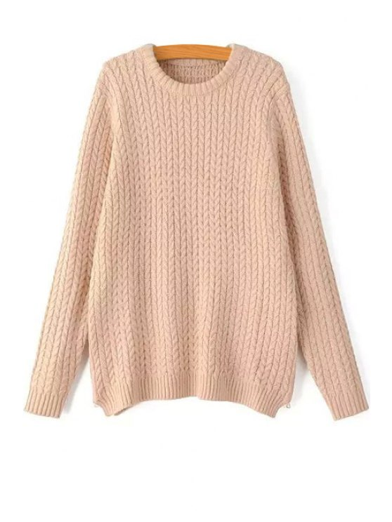 outfits Braided Pattern Round Collar Solid Color Pullover Sweater - PINK ONE SIZE(FIT SIZE XS TO M)