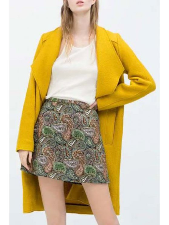 outfits Yellow Turn Down Collar Long Sleeves Coat - YELLOW XS