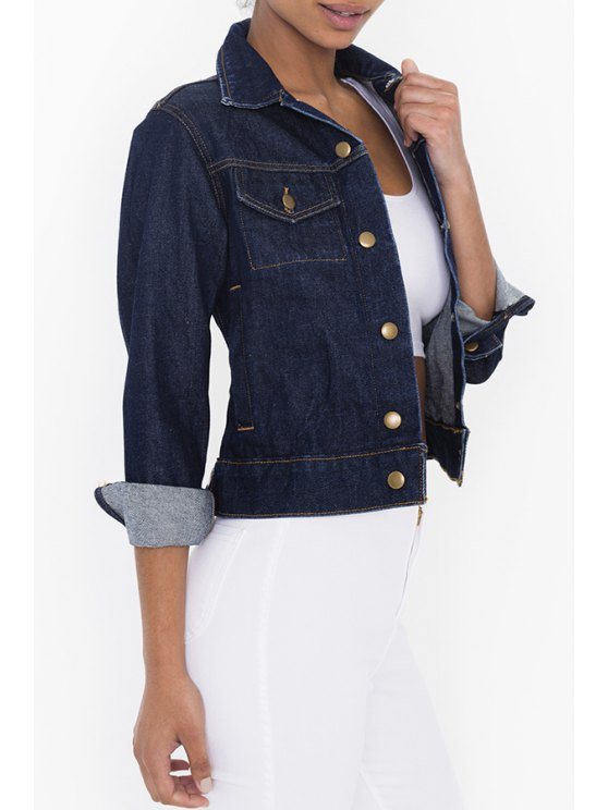 outfits Denim Turn-Down Collar Single-Breasted Jacket - DEEP BLUE S