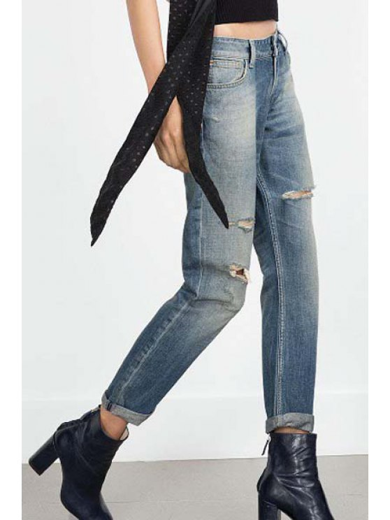 best Vintage Straight Leg Broken Hole Jeans - LIGHT BLUE S