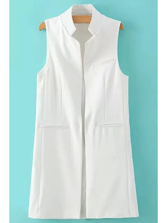 fashion Stand Neck Pure Color Waistcoat - WHITE S