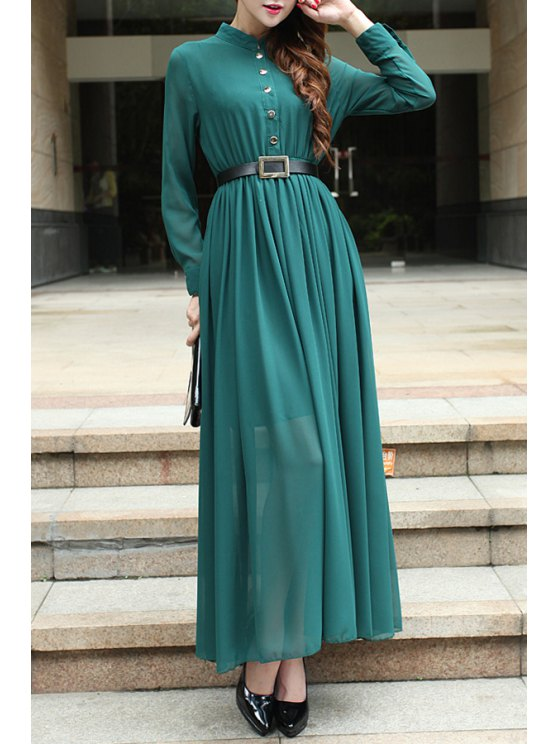 buy Green Stand Neck Long Sleeve Maxi Dress - GREEN S