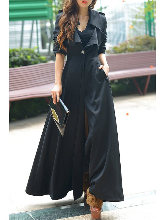 hot Pure Color Turn Down Collar Long Sleeve Maxi Coat - BLACK S