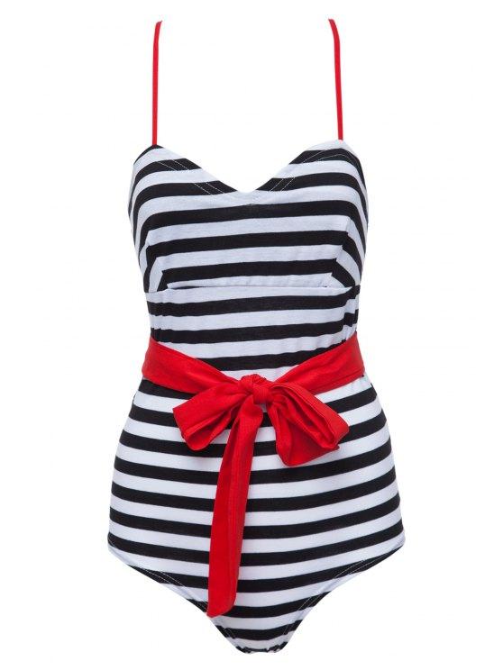 hot Spaghetti Strap Stripe Bowknot Swimwear - BLACK S