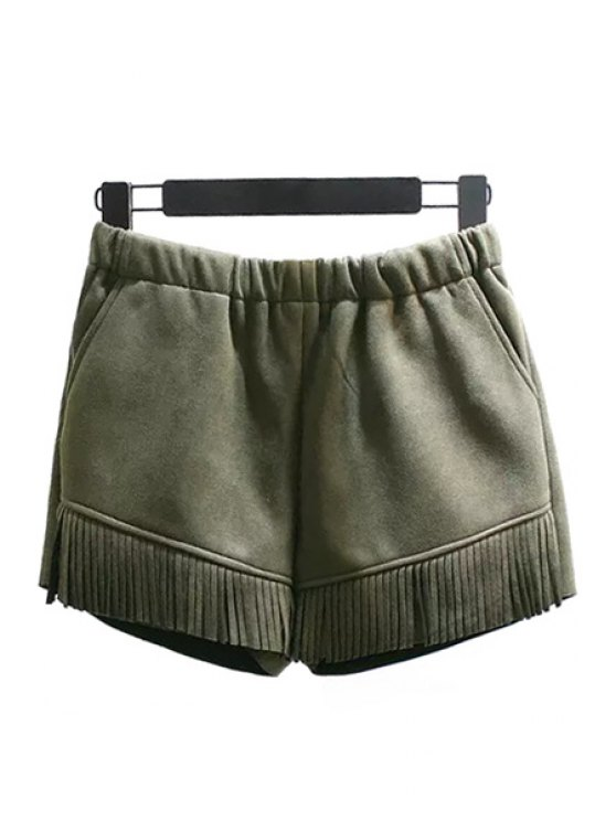 hot Elastic Waist Tassels Suede Shorts - GREEN M