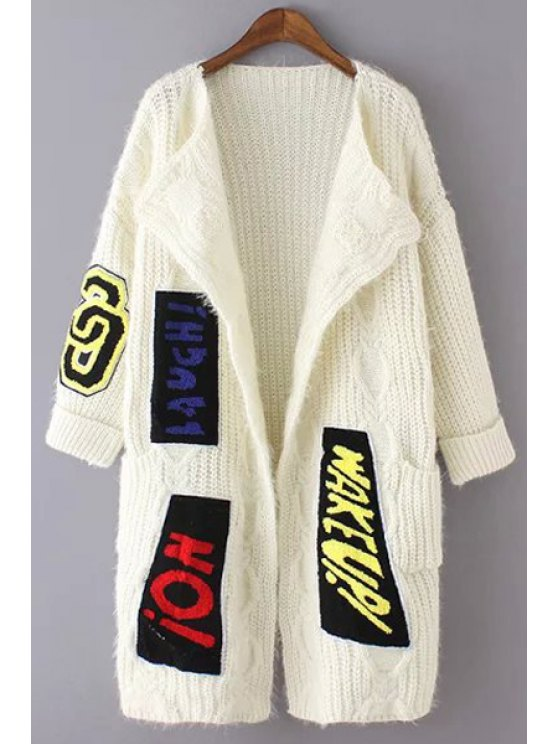 chic Letter Applique Print Long Sleeves Collarless Cardigan - WHITE ONE SIZE(FIT SIZE XS TO M)