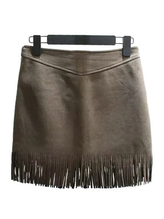 outfits High-Waisted Tassels Suede Skirt - GRAY M