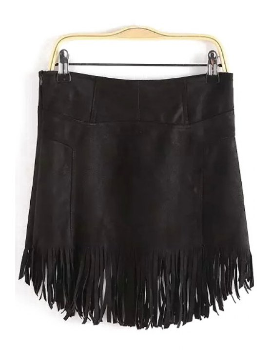 trendy Tassels Suede Irregular Hem Skirt - BLACK S