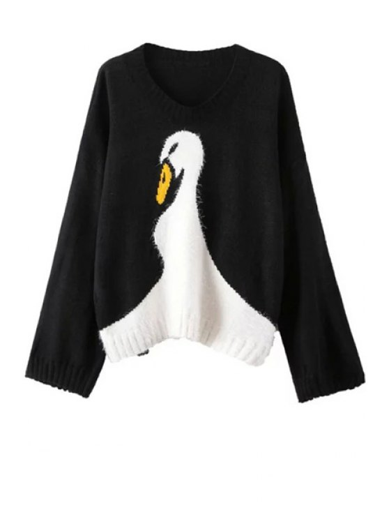 latest Wide Sleeve Swan Pattern Jumper - BLACK ONE SIZE(FIT SIZE XS TO M)