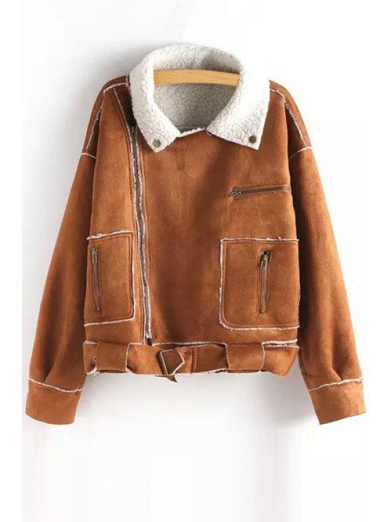 unique Fleece Lining Faux Suede Jacket - KHAKI ONE SIZE(FIT SIZE XS TO M)