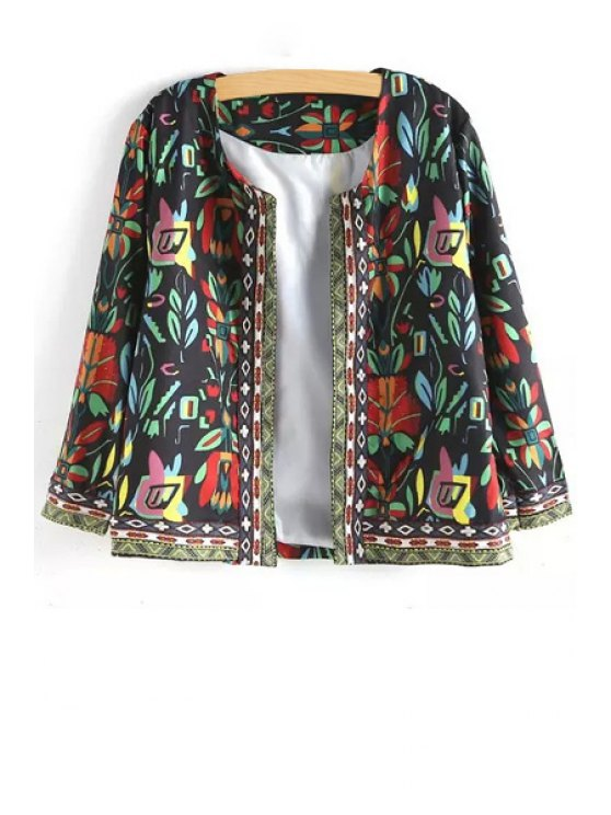 affordable Long Sleeve Floral Print Jacket - BLACK ONE SIZE(FIT SIZE XS TO M)