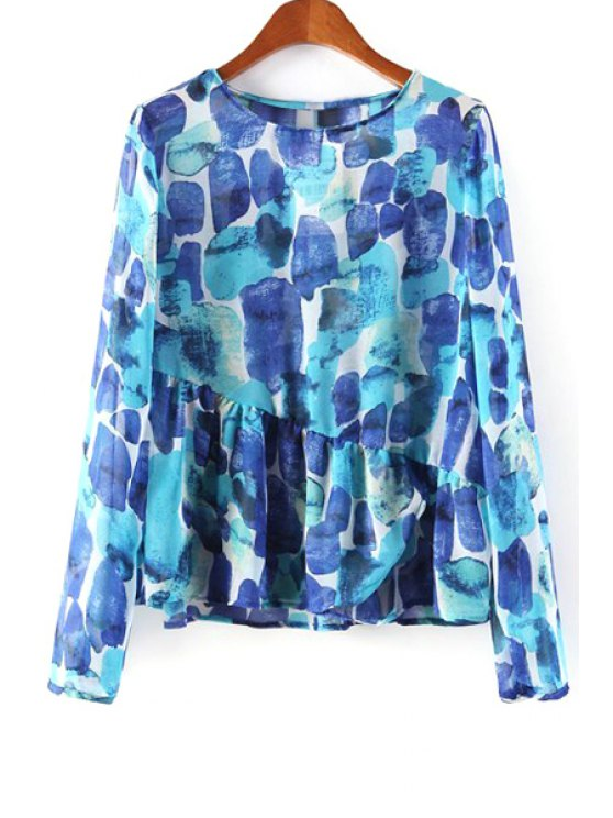 womens Abstract Print Ruffled Blouse - BLUE S