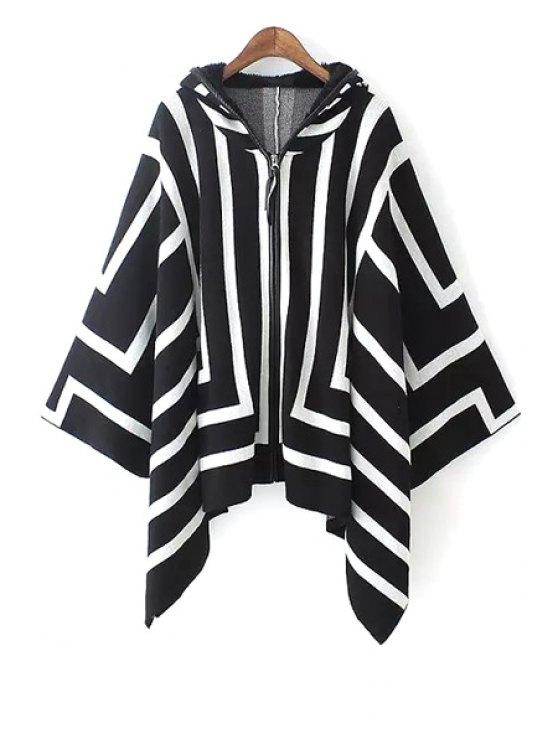 women Hooded White Stripes Cloak Cardigan - WHITE AND BLACK M