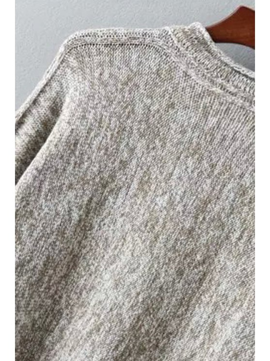 Fringed High Low Sweater - COFFEE ONE SIZE(FIT SIZE XS TO M) Mobile