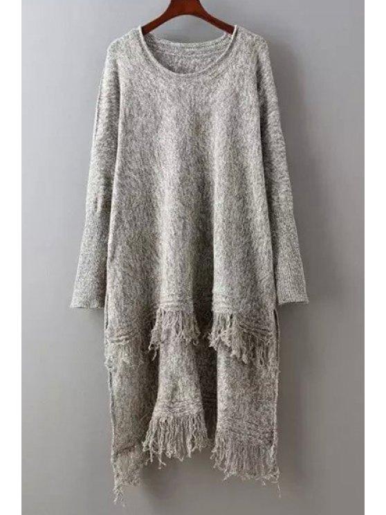 Suéter con flecos altos y bajos - Café Un tamaño(Montar tam