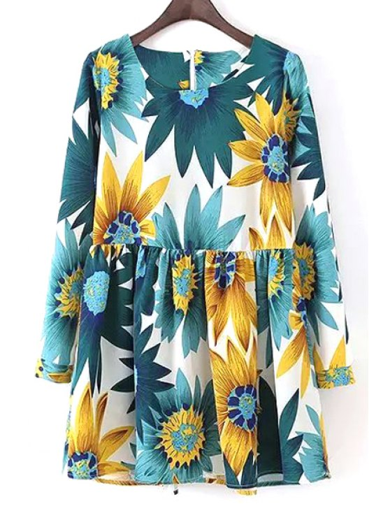 women Long Sleeve Sunflower Print Dress - WHITE S