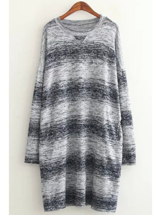 latest Long Sleeve Ombre Color Sweater - BLUE ONE SIZE(FIT SIZE XS TO M)