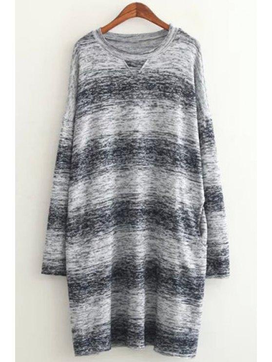 Suéter de manga larga de color Ombre - Azul Un tamaño(Montar tam