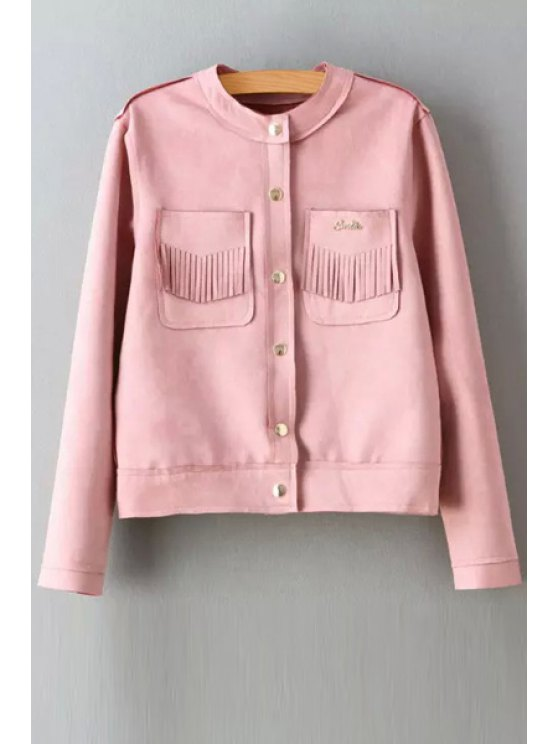 fancy Round Neck Two Pockets Suede Jacket - PINK S