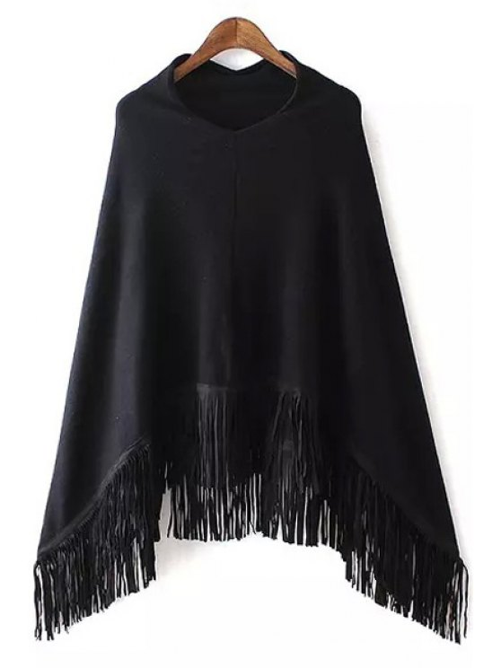 unique V-Neck Fringed Cape Sweater - BLACK ONE SIZE(FIT SIZE XS TO M)